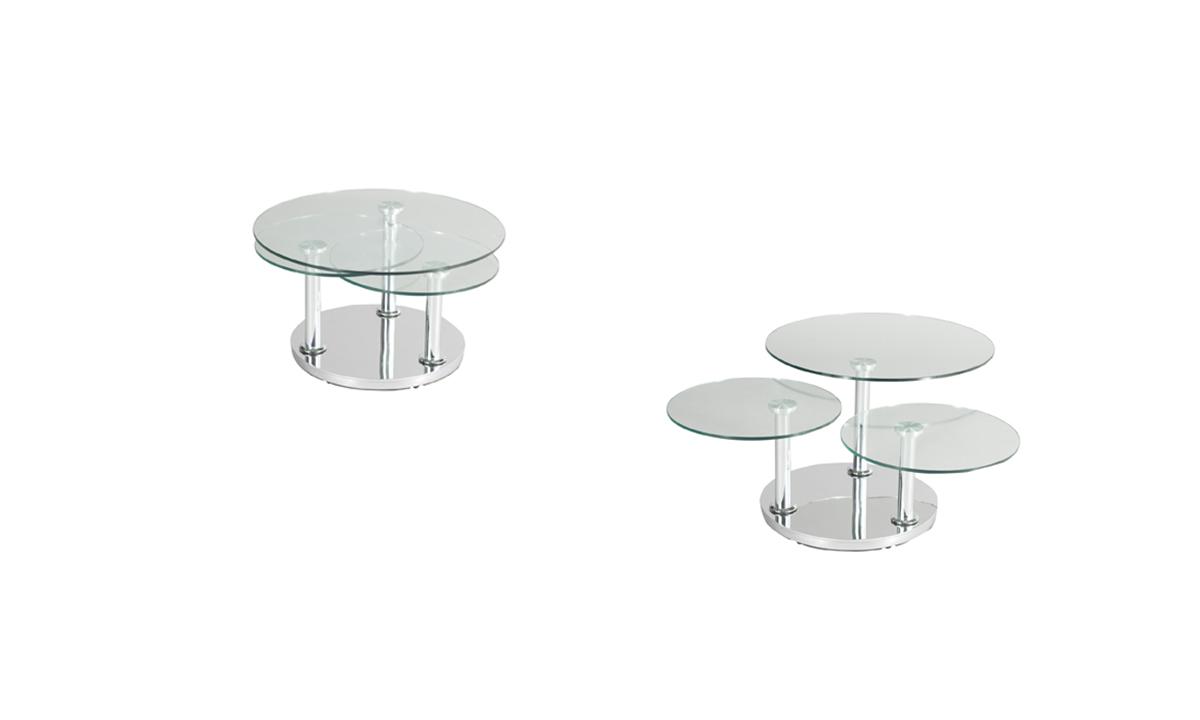 TABLE BASSE RONDE 3 PLATEAUX EN VERRE – ROSE DE EDA CONCEPT 1
