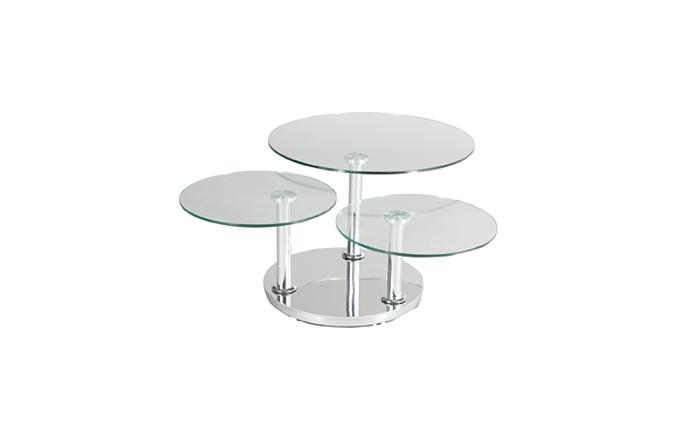 Table basse ronde 3 plateau en verre ouverte - ROSE Eda Concept