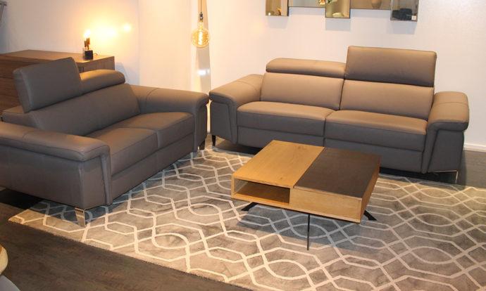 Canapé 2 et 3 places relax cuir gris PETER - Vélizy (78140)
