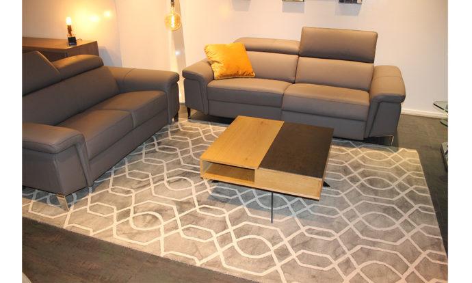 Canapé 2 et 3 places relax cuir gris FOGGIA - Vélizy (78140)