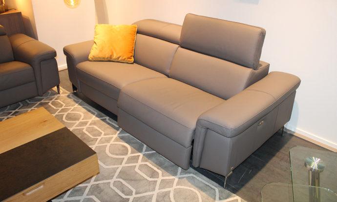 Canapé 3 places relax cuir gris FOGGIA - Vélizy (78140)