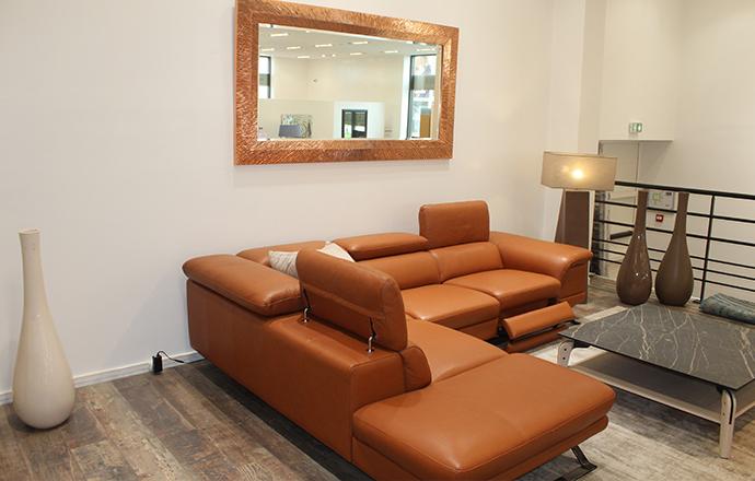 Canapé angle cuir relax méridienne à gauche vue de face PRESTIGIO - Cesson (77240)