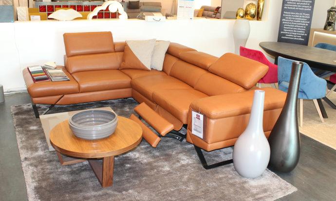 Canapé angle cuir relax méridienne à gauche vue de face PRESTIGIO - Ste Geneviève (91700)