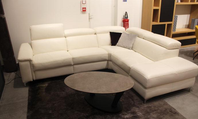 Canapé d'angle méridienne avec relax en cuir NAPOLI - Claye-Souilly (77410)
