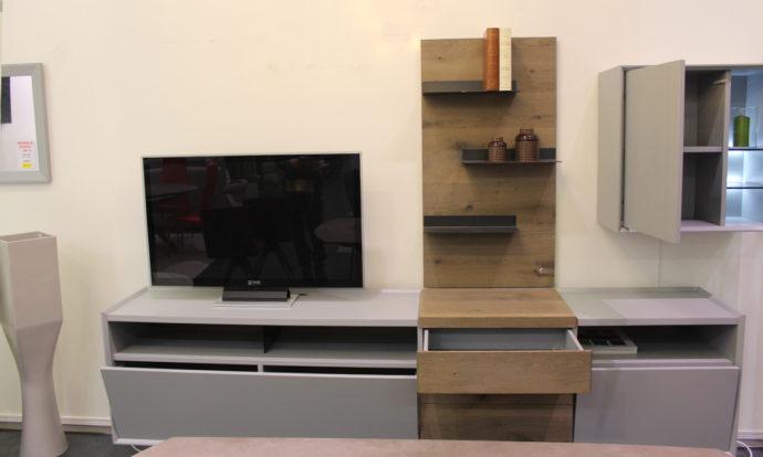 Ensemble TV LED laqué mat perle et bois WOOD - Ste Geneviève-des-Bois (91700)