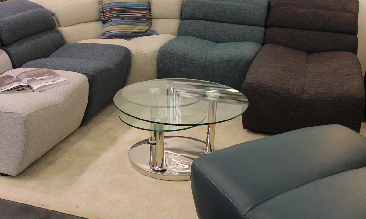 TABLE BASSE RONDE EN VERRE 3 PLATEAUX // NAPLES 1