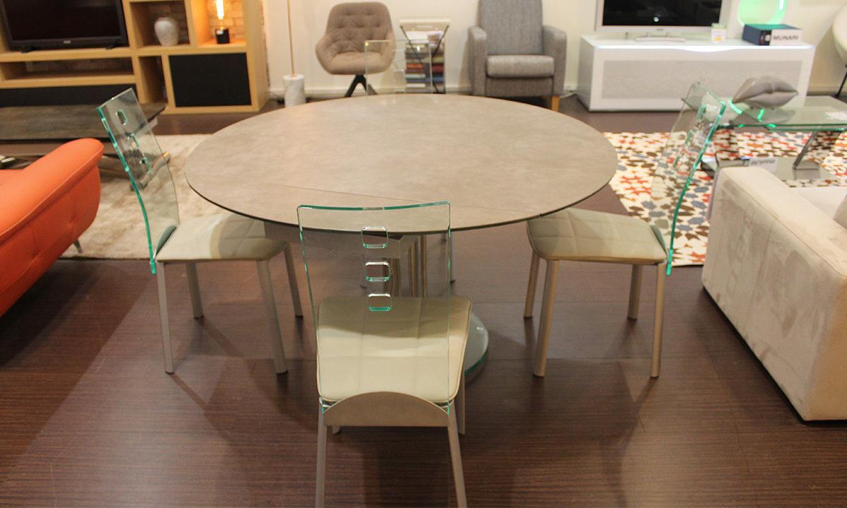 TABLE DE REPAS CÉRAMIQUE EXTENSIBLE RONDE + 4 CHAISES // PÉROUSE 2