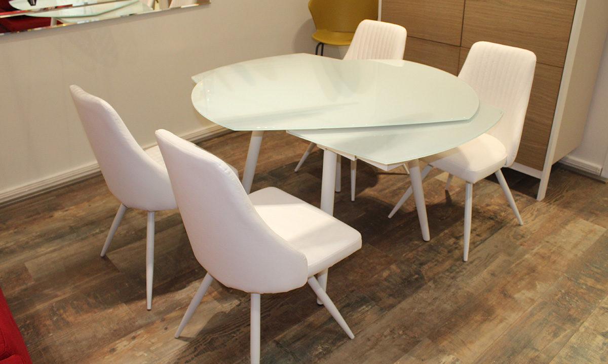 TABLE DE REPAS EN VERRE EXTENSIBLE RONDE + 4 CHAISES // LONDON 4 2