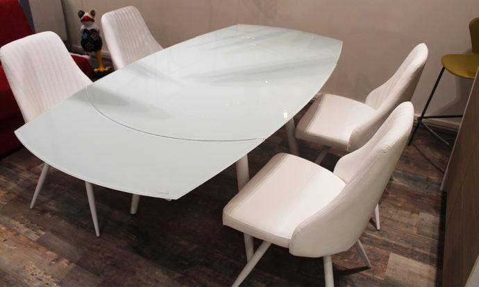Table de repas en verre trempé blanc LONDON 4 - Beaugrenelle (75015)