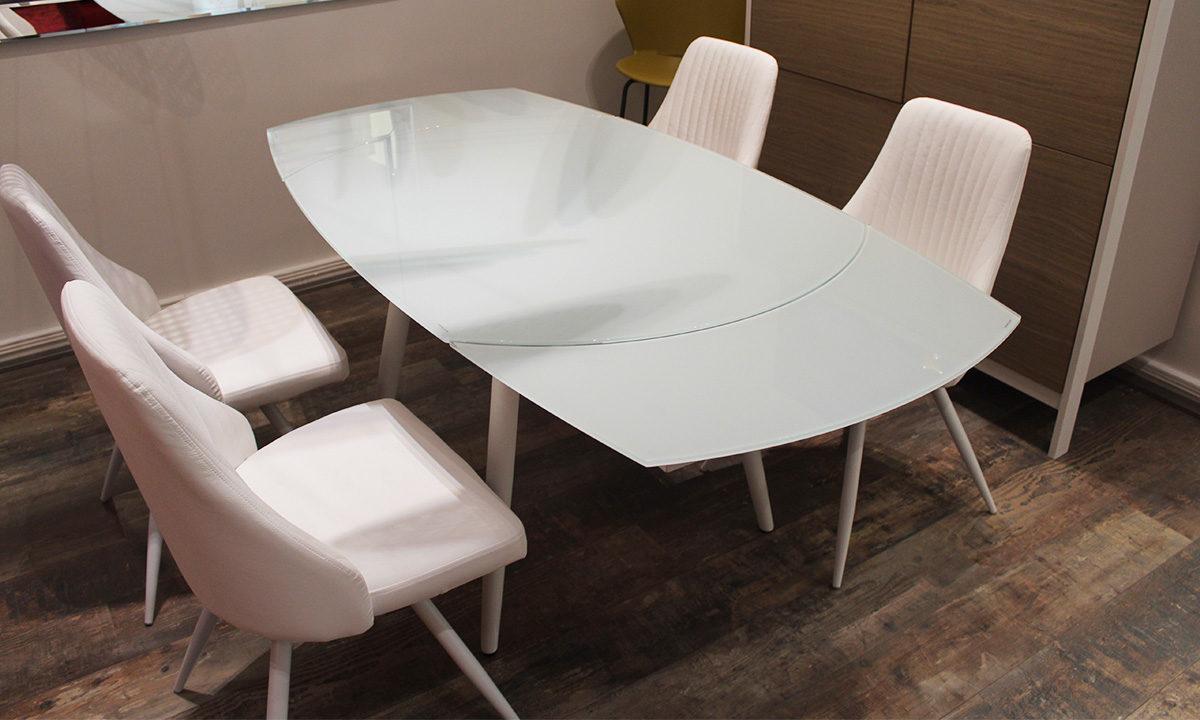 TABLE DE REPAS EN VERRE EXTENSIBLE RONDE + 4 CHAISES // LONDON 4 3