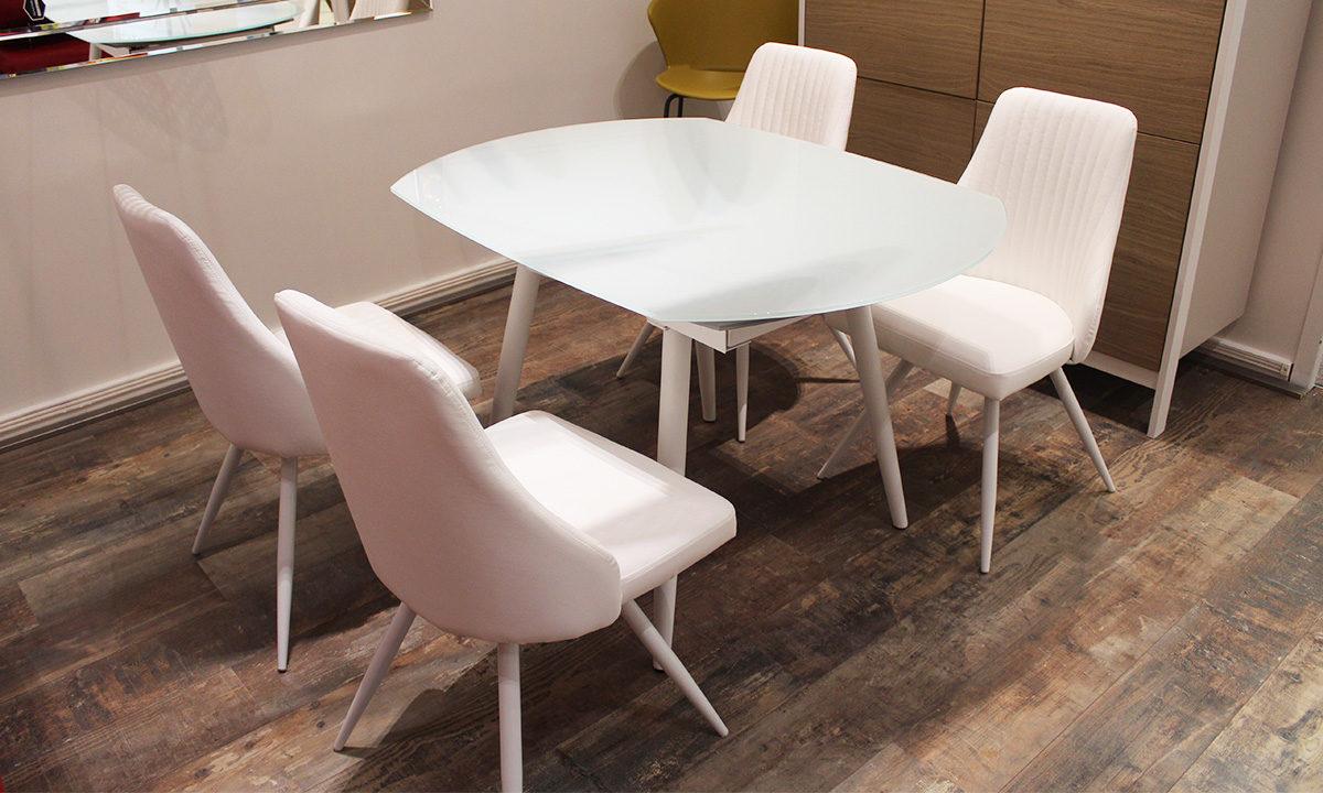 TABLE DE REPAS EN VERRE EXTENSIBLE RONDE + 4 CHAISES // LONDON 4 1