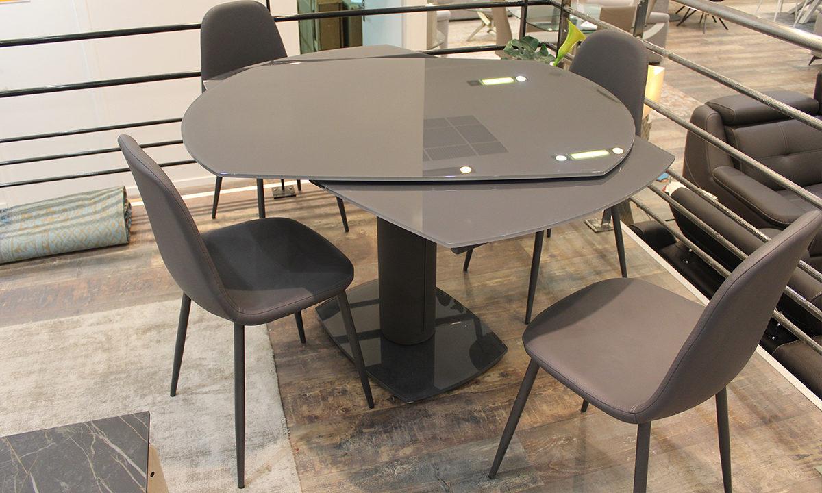 TABLE DE REPAS EXTENSIBLE EN VERRE + 4 CHAISES // LONDON 3