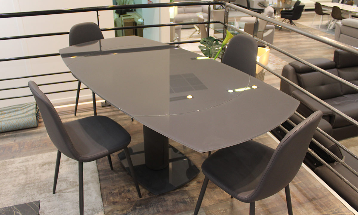 TABLE DE REPAS EXTENSIBLE EN VERRE + 4 CHAISES // LONDON 2