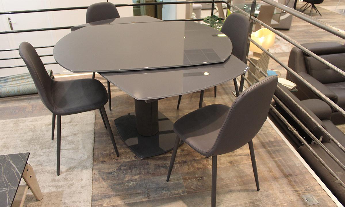 TABLE DE REPAS EXTENSIBLE EN VERRE + 4 CHAISES // LONDON 4
